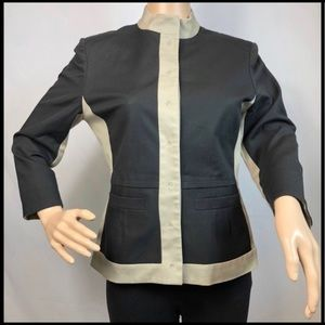 VINCE Blazer Silk Jacket Black with Tan Trim 8